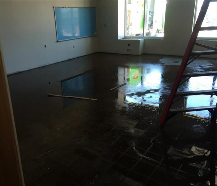 flooded flooring in classroom