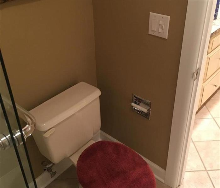 bathroom toilet with repaired interior walls