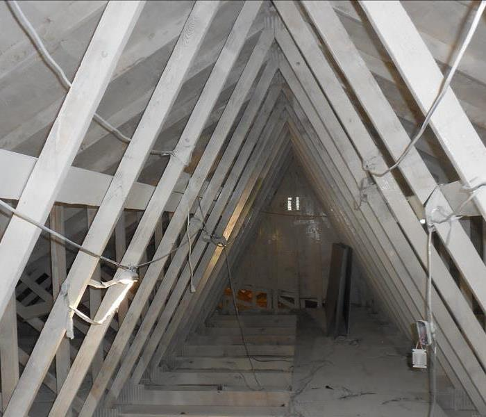 White trusses and attic floor