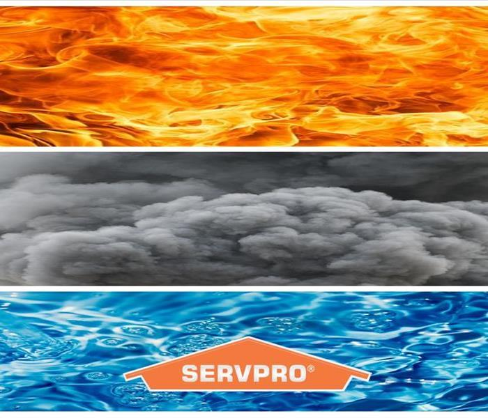 Fire, Smoke and Water with SERVPRO Logo