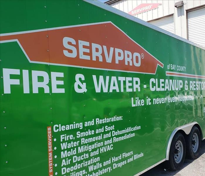 SERVPRO of Bay County Trailer with services listed on the side.
