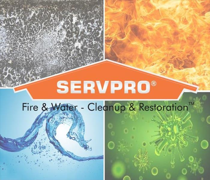 SERVPRO logo on top of water, fire, mold, and biohazard symboks